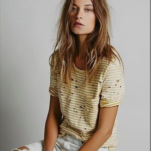 Free People • Yellow Distressed Tee Small